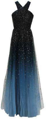 Marchesa Cutout Glittered Degrade Tulle Gown
