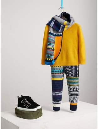 Burberry Fair Isle Wool Cashmere Patchwork Sweatpants
