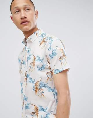 Selected Slim Short Sleeve Shirt With Tiger Print