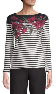 Karen Scott Petite Floral Striped Long-Sleeve Top
