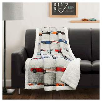 "Lush Decor Race Cars Sherpa Throw (50""x60"") Blue & Orange"