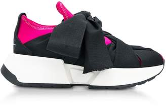 MM6 MAISON MARGIELA Mm6 Maison Martin Margiela Pink Navy And Black Nylon And Leather Bow Sneakers