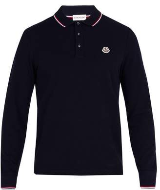 Moncler Long Sleeved Cotton Pique Polo Shirt - Mens - Black