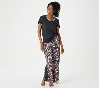 Cuddl Duds Tall Cool & Airy Color- Block Print Pajama Set