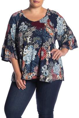 4e6e69f69be ... Bobeau Floral Print Bell Sleeve Back Tie Blouse (Plus Size)