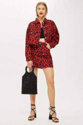 Topshop Womens Petite Red Leopard Print Denim Skirt