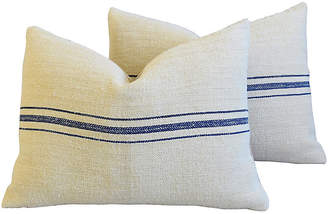 One Kings Lane Vintage Sky-Blue Striped Grain Sack Pillows - Pr