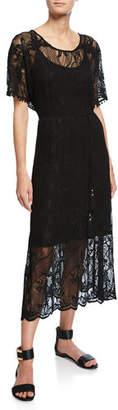 Johnny Was Scoop-Neck Short-Sleeve Sheer Lace Midi Dress w/ Tasseled Tie-Belt, Petite