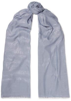 Brunello Cucinelli Metallic Cashmere-blend Scarf - Blue