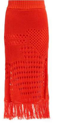 Altuzarra Benedetta Crochet Cotton Blend Midi Skirt - Womens - Orange
