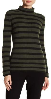 Minnie Rose Striped Long Sleeve Turtleneck Cashmere Sweater