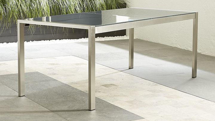 Crate & BarrelDune Rectangular Dining Table with Painted Charcoal Glass