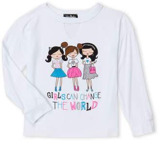 Miss Popular (Girls 4-6x) The World Cutout Long Sleeve Tee