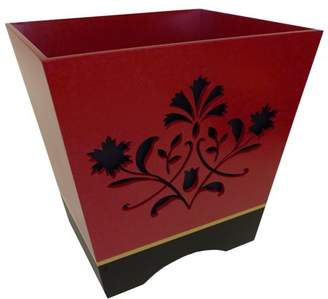 Better Homes & Gardens Better Homes and Gardens Red Scroll Wood Waste Basket With Decorative Cut Work