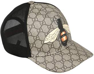 Gucci Bee Coated Gg Canvas & Mesh Trucker Hat