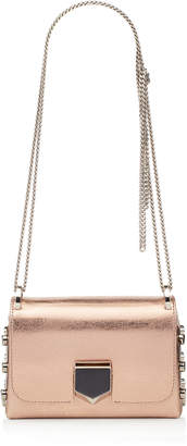 Jimmy Choo LOCKETT MINI Rose Gold Etched Metallic Spazzolato Shoulder Bag