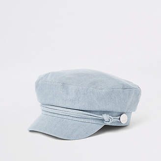 River Island Womens Blue denim baker boy hat