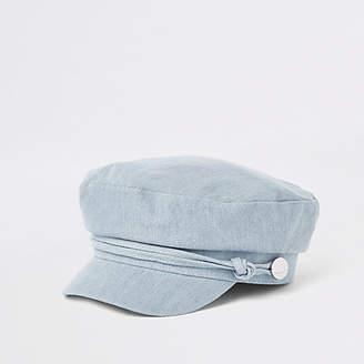 River Island Blue denim baker boy hat