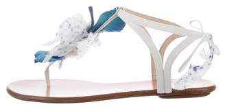 Aquazzura Feather Trim Canvas Sandals