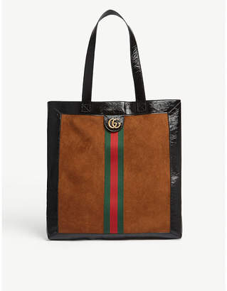 Gucci Webbing suede and patent leather tote