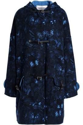 Valentino Printed Wool-Blend Hooded Coat