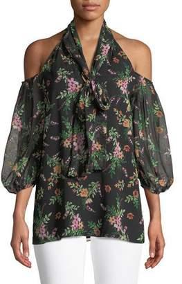 Shoshanna Laurel Floral Cold-Shoulder Blouse