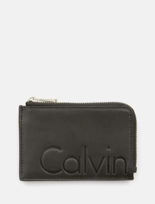 Calvin Klein embossed logo leather l-zip wallet