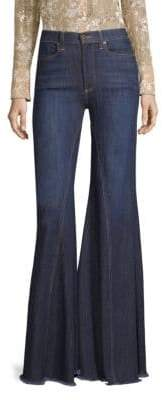 Alice + Olivia AO.LA by High-Rise Exaggerated Ruffle Hem Jeans