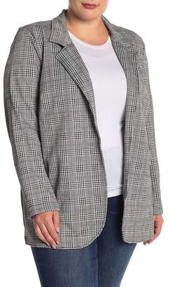 24d938fd103 ... RDI Fitted Knit Houndstooth Long Blazer (Plus Size)