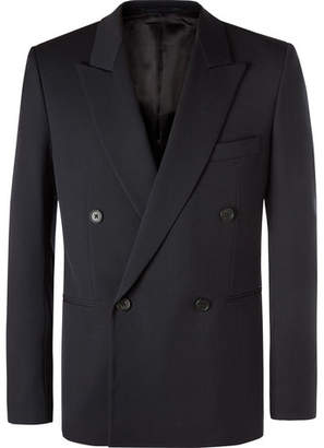 The Row Navy Julian Slim-Fit Double-Breasted Virgin Wool Blazer