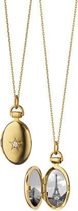 Monica Rich Kosann Petite Oval Gold Locket Necklace