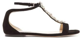 Jimmy Choo Averie Crystal Embellished Suede Sandals - Womens - Black