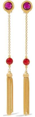 Ben-Amun Tasseled 24-Karat Gold-Plated Crystal And Stone Clip Earrings