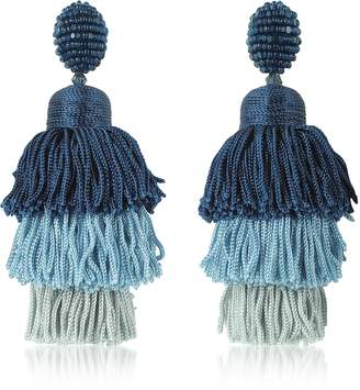 Oscar de la Renta Long Silk Tiered Tassel Earrings