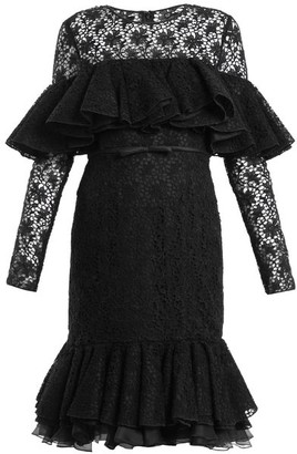Giambattista Valli Layered Ruffled Cotton Blend Macrame Lace Dress - Womens - Black