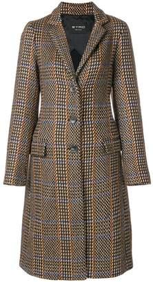 Etro geometric check knit coat