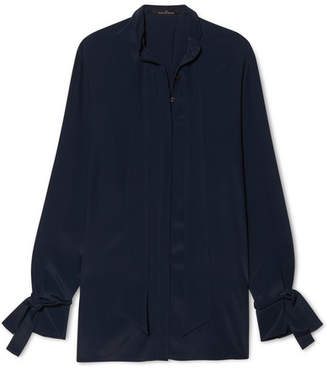 Rokh - Open-back Crepe De Chine Blouse - Midnight blue