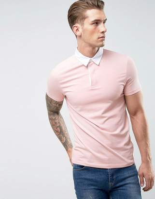 Asos Design DESIGN muscle fit rugby polo shirt in pink