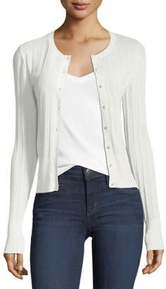 Theory Button-Front Prosecco Knit Cardigan