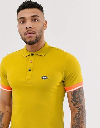 Replay stretch pique neck logo polo in mustard
