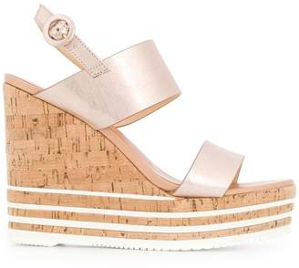 Hogan strappy striped wedge sandals