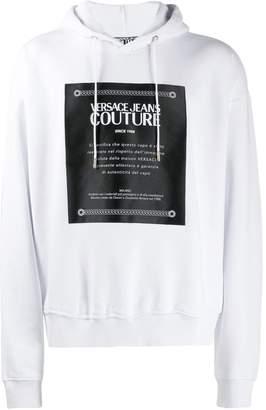 Versace brushed fleece label print hoodie