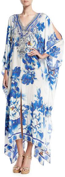 CamillaCamilla Split-Detail Embellished Silk Caftan Coverup, Ring of Roses