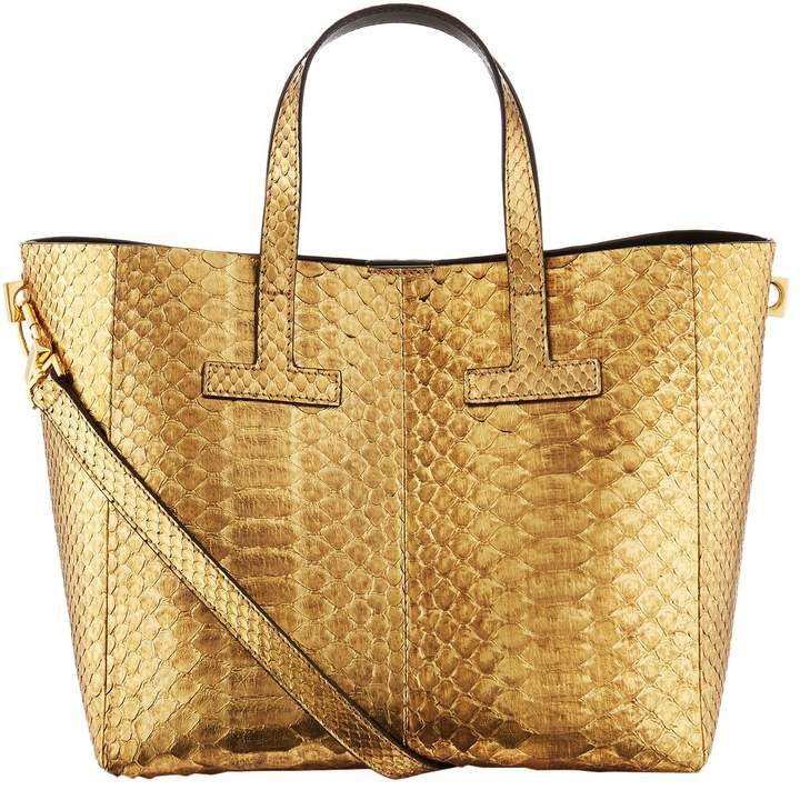 TOM FORD Small Python T Tote Bag, Gold, One Size