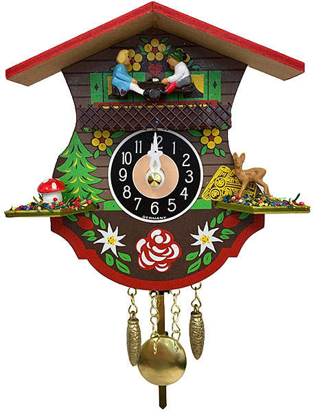 Black & Red Floral Chime/Cuckoo Clock