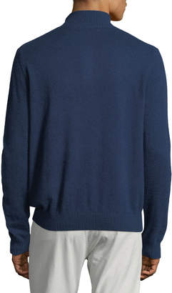 Neiman Marcus Men's Cashmere Suede-Piped Mock-Neck Sweater