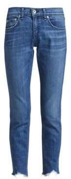 Rag & Bone Dre Slim-Fit Mid-Rise Raw Hem Medium Wash Jeans