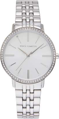 Vince Camuto Silvertone Crystal-accent Link Watch