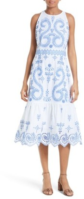 Women's Tory Burch Mariana Embroidered Cotton Midi Dress $695 thestylecure.com