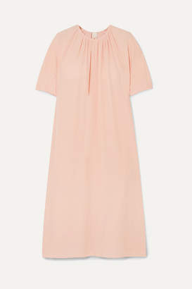 Marni Gathered Crepe De Chine Midi Dress - Peach